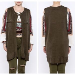 Free People green highway knit vest size M // J39